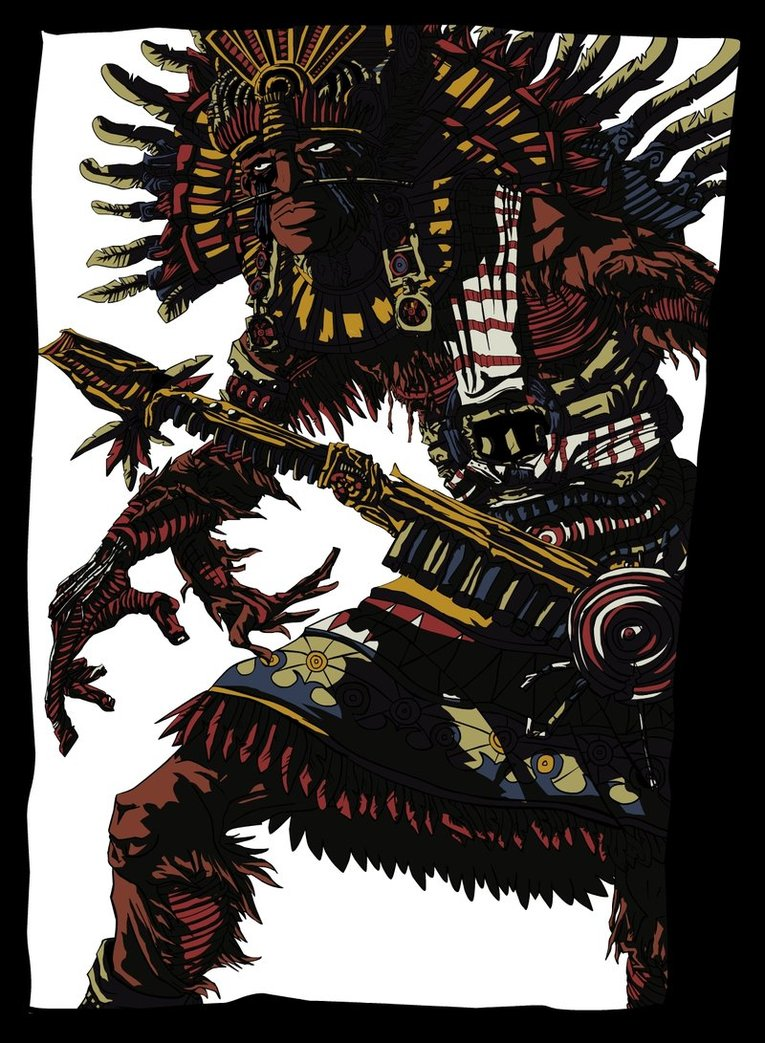 Our Lord the Flayed One psychedelic Aztec illustration by Doug Simon