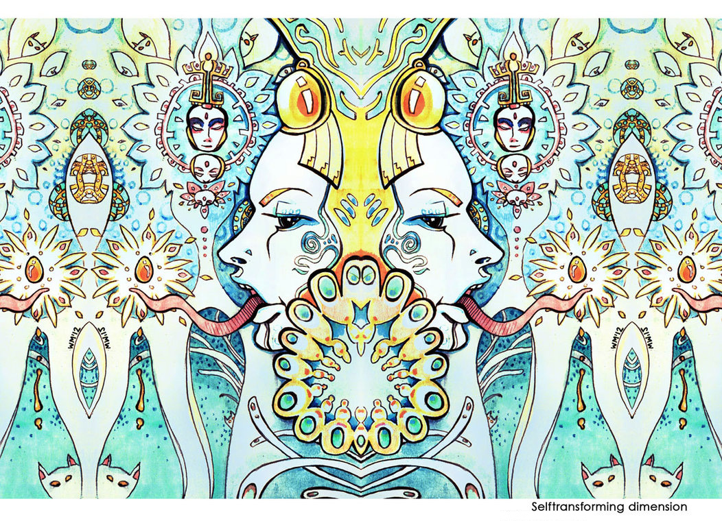 Self transforming dimension traditional psychedelic drawing by Limbic Splitter