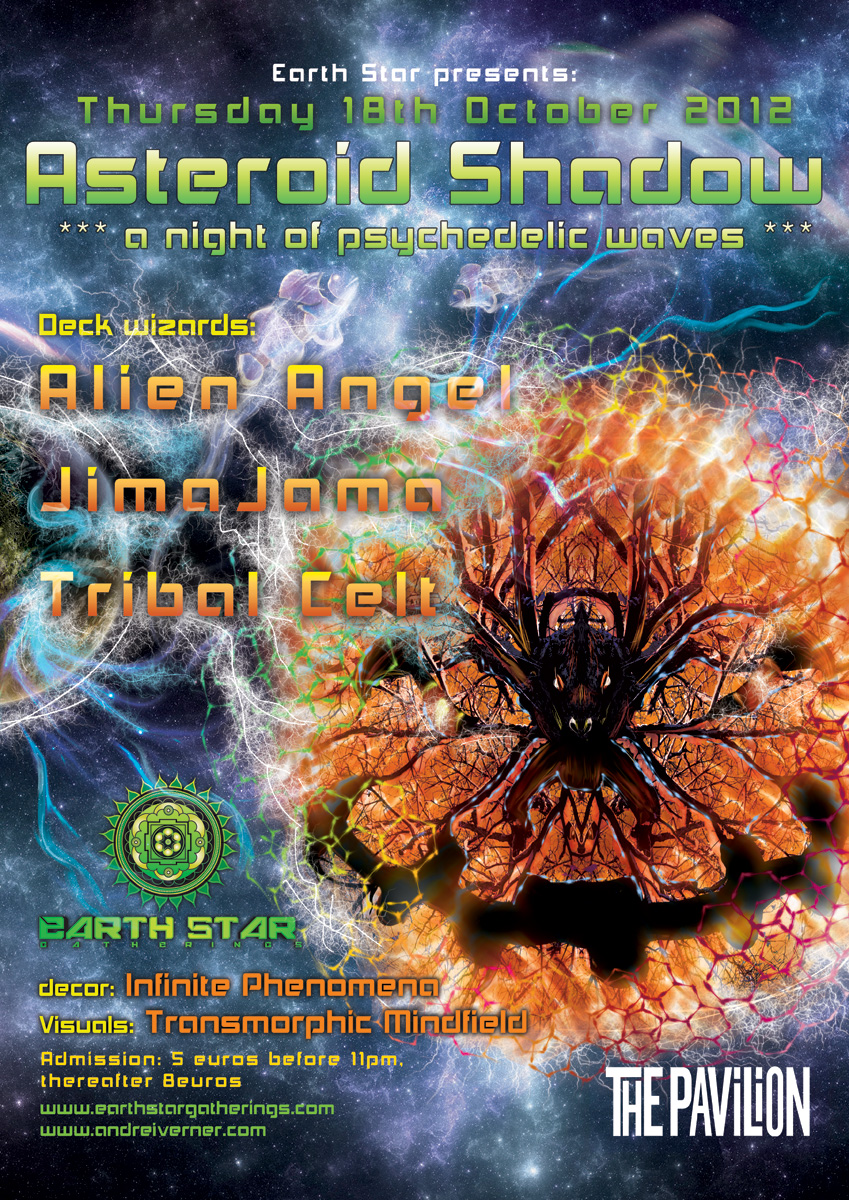 Asteroid Shadow - psychedelic trance party poster and flyer by Andrei Verner