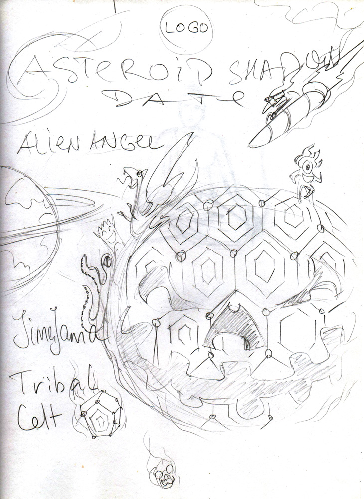 Asteroid Shadow - psychedelic trance party poster and flyer sketch by Andrei Verner