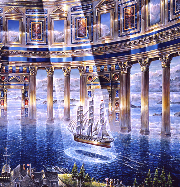Transcend Voyage Detail - visionary painting by John Stephens