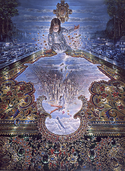 Escape from - visionary painting by John Stephens