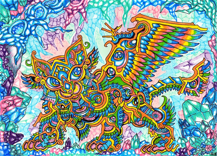 Rainbow cat in crystal cave - trippy doodles by Lutamesta