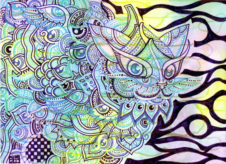 The lagoon cat - trippy doodles by Lutamesta