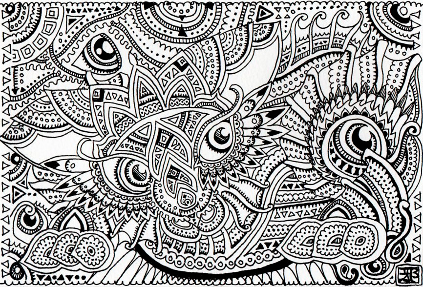 Wild cat - trippy doodles by Lutamesta