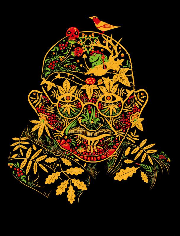 Gandhi Psychedelic Khokhloma design