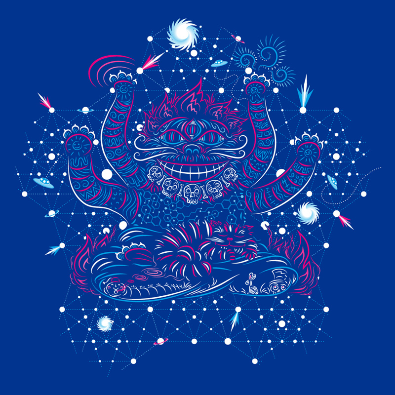 Cheshire Cat's dream psychedelic t-shirt design by  Andrei Verner