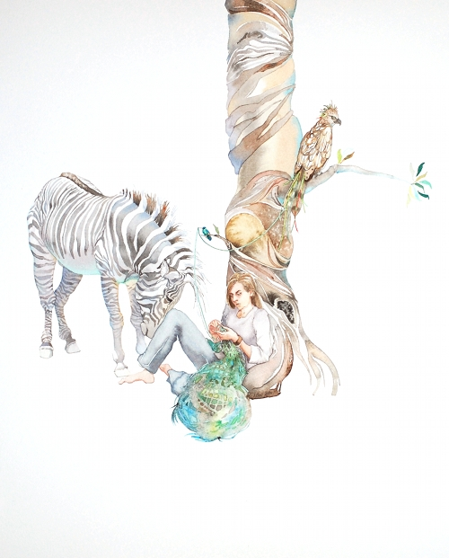 Study for origins - psychedelic watercolor painting by Laura Ball