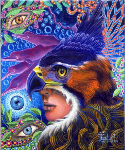 Ayahuasca psychedelic art Felix Pinchi Aguirre