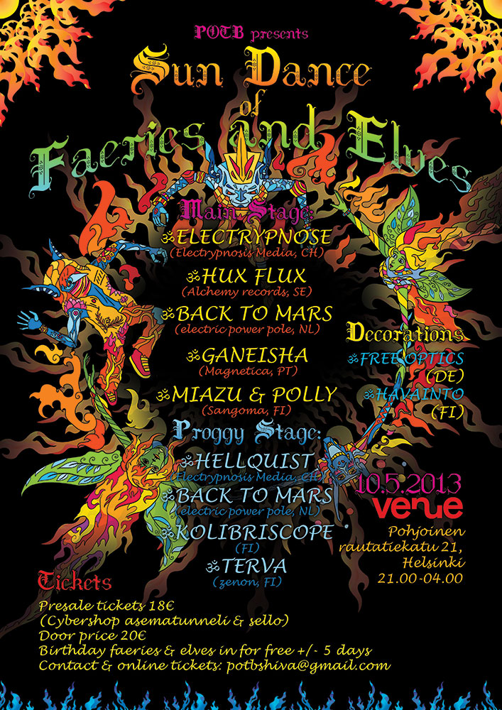 Sun Dance of Faeries and Elves psychedelic flyer Andrei Verner