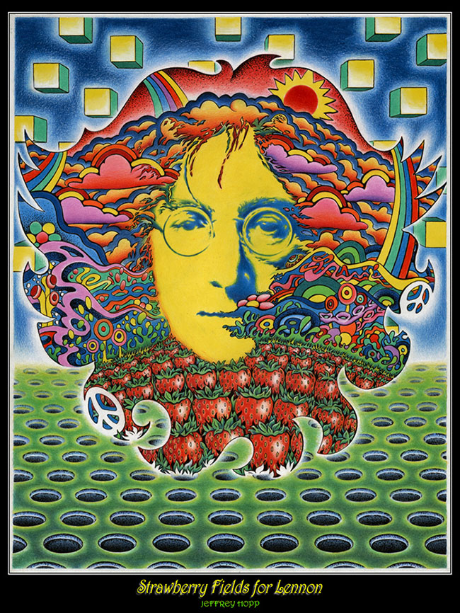 Strawberry fields for Lennon - traditional psychedelic drawing by Jeff Hopp