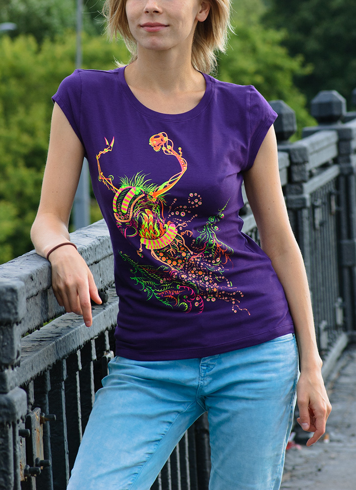 Cyborg Baba Yaga psychedelic fluorescent silkscreen lady's t-shirt by Andrei Verner