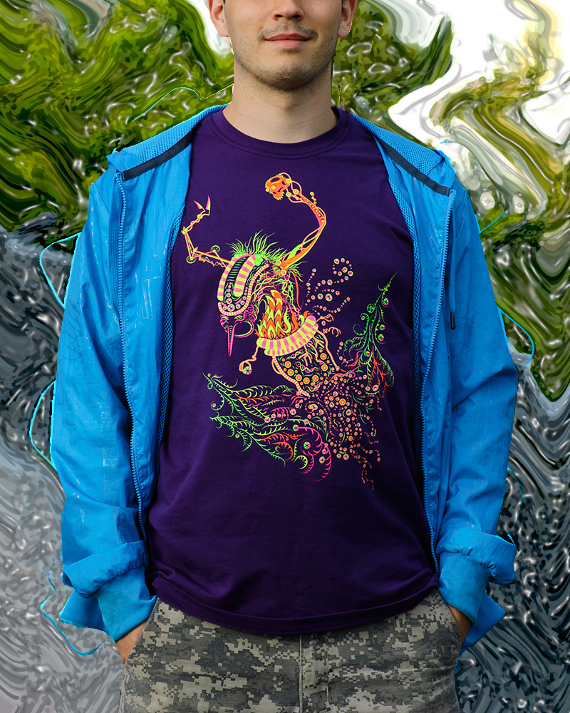 Cyborg Baba Yaga psychedelic fluorescent silkscreen man's t-shirt by Andrei Verner