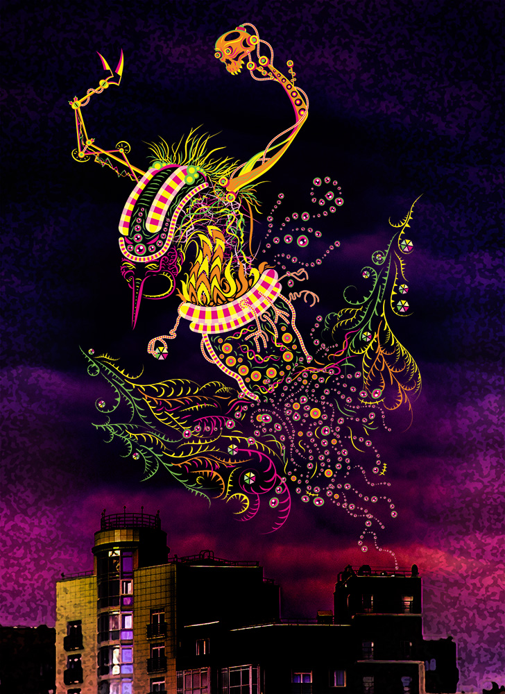 Cyborg Baba Yaga psychedelic fluorescent silkscreen t-shirt design by Andrei Verner