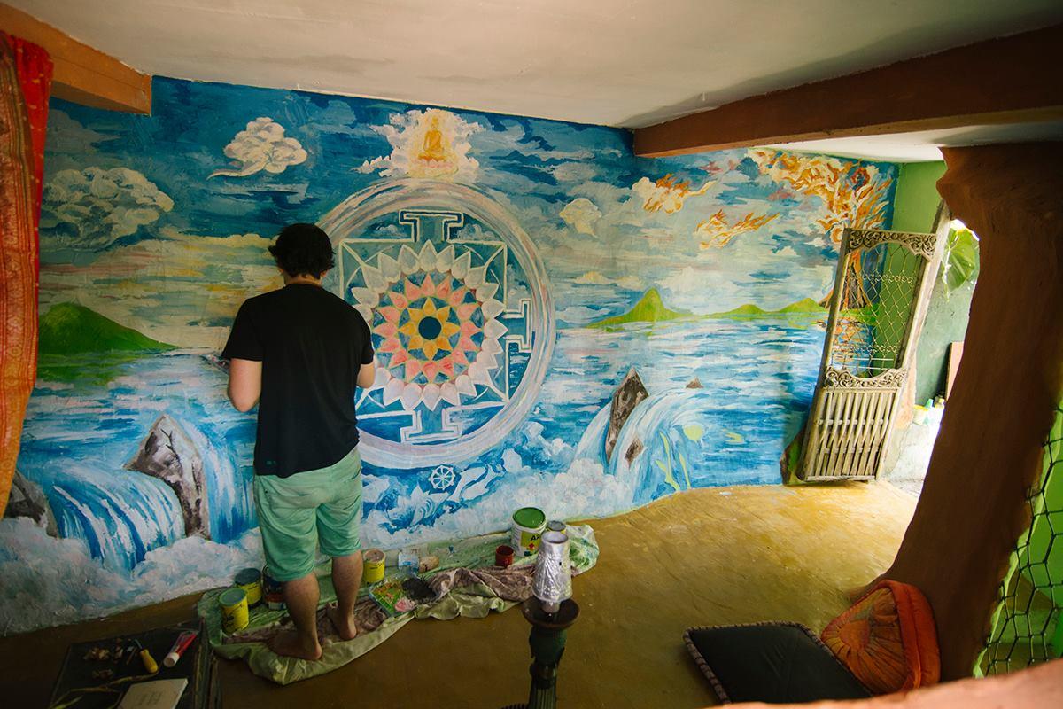 Santa Mandala wall painting by Andrei Verner