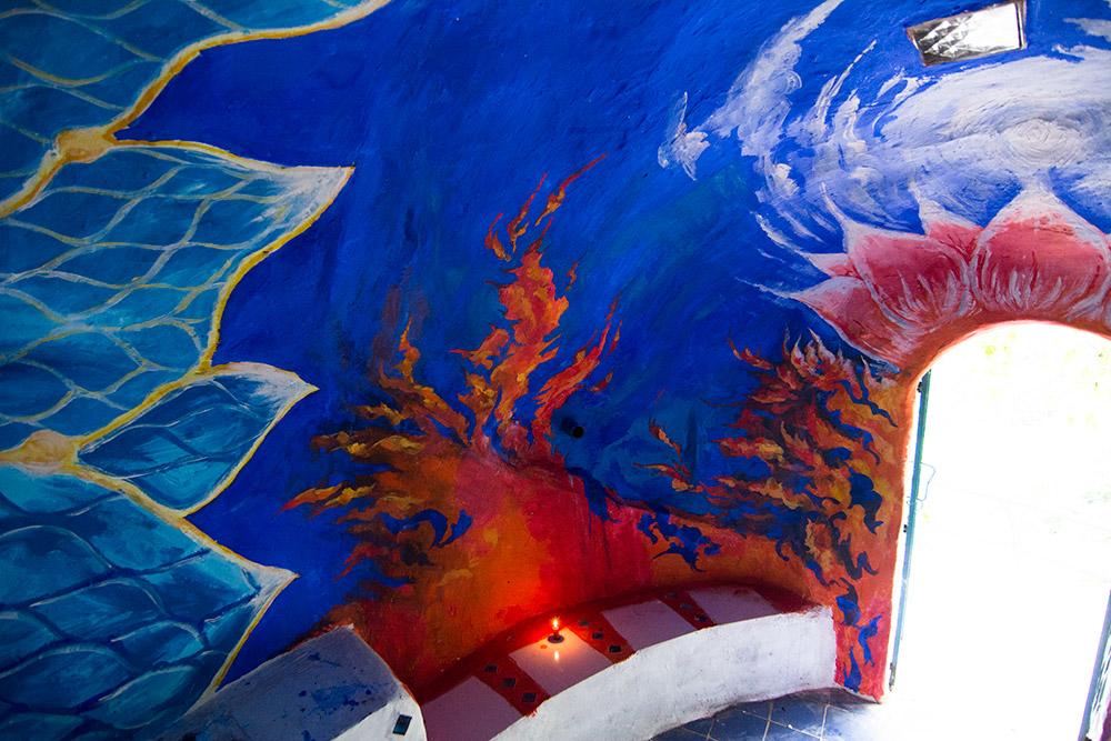 Santa Mandala cave painting by Andrei Verner