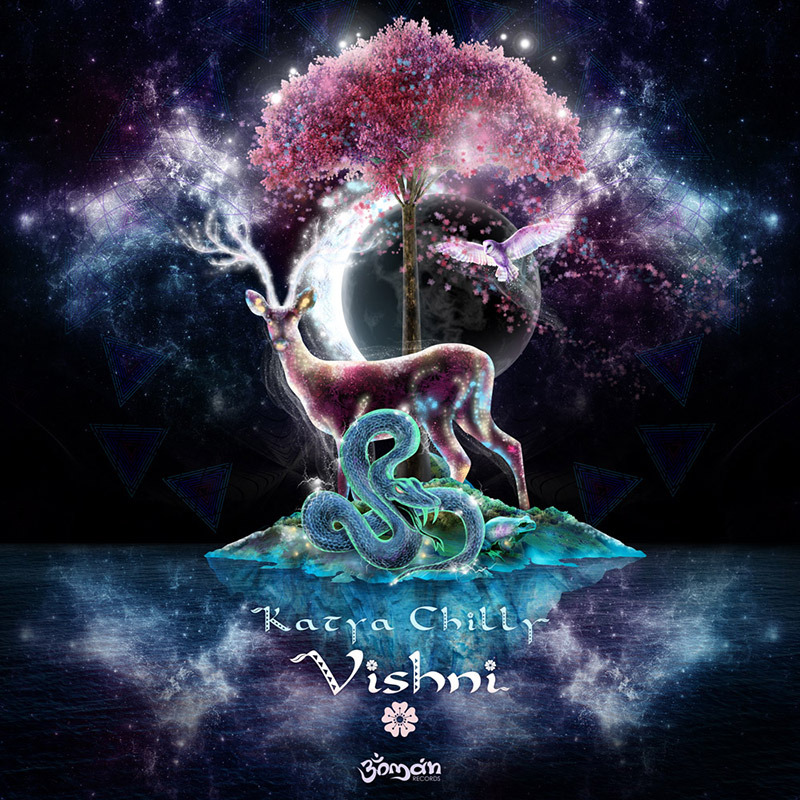 КАТЯ CHILLY – VISHNI REMIXED - psychedelic album cover by Andrei Verner