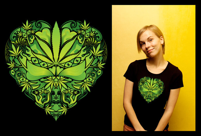 Marijuana Love Green color woman's psychedelic t-shirt