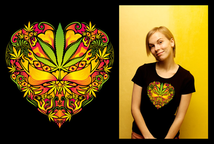 Marijuana Love Rasta color woman's psychedelic t-shirt