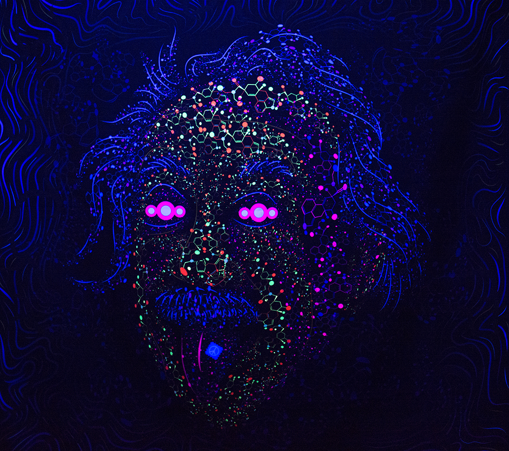 Acid Scientist tongue out psychedelic fluorescent print on fabric by Andrei Verner