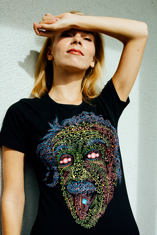Acid scientist women's psychedelic t-shirt by Andrei Verner