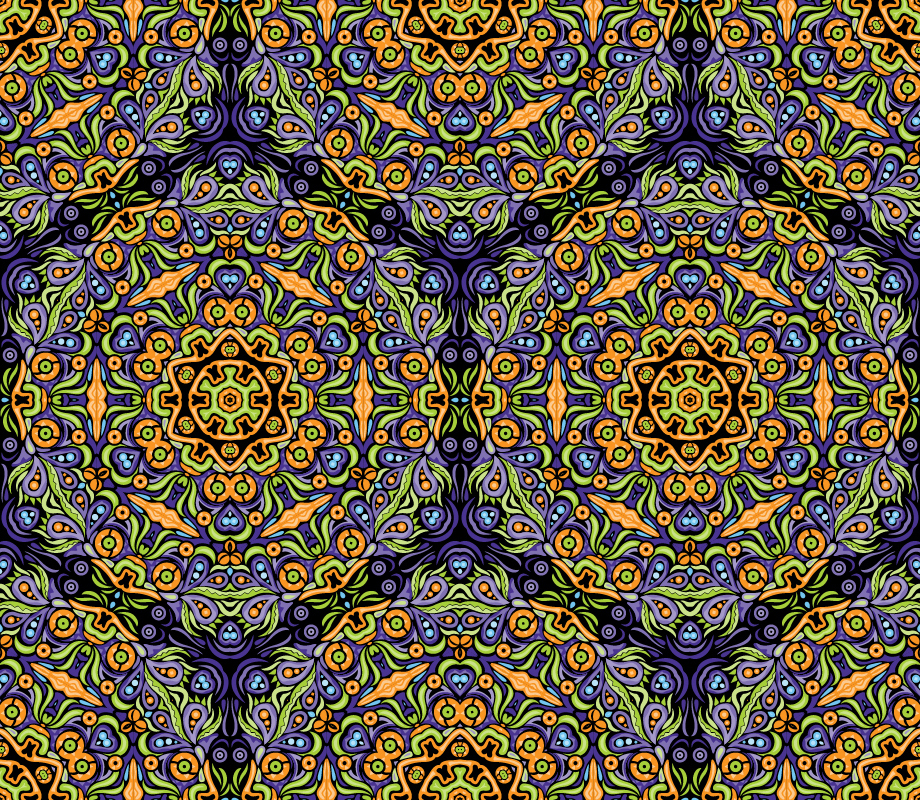 Psychedelic kaleidoscope pattern by Andrei Verner