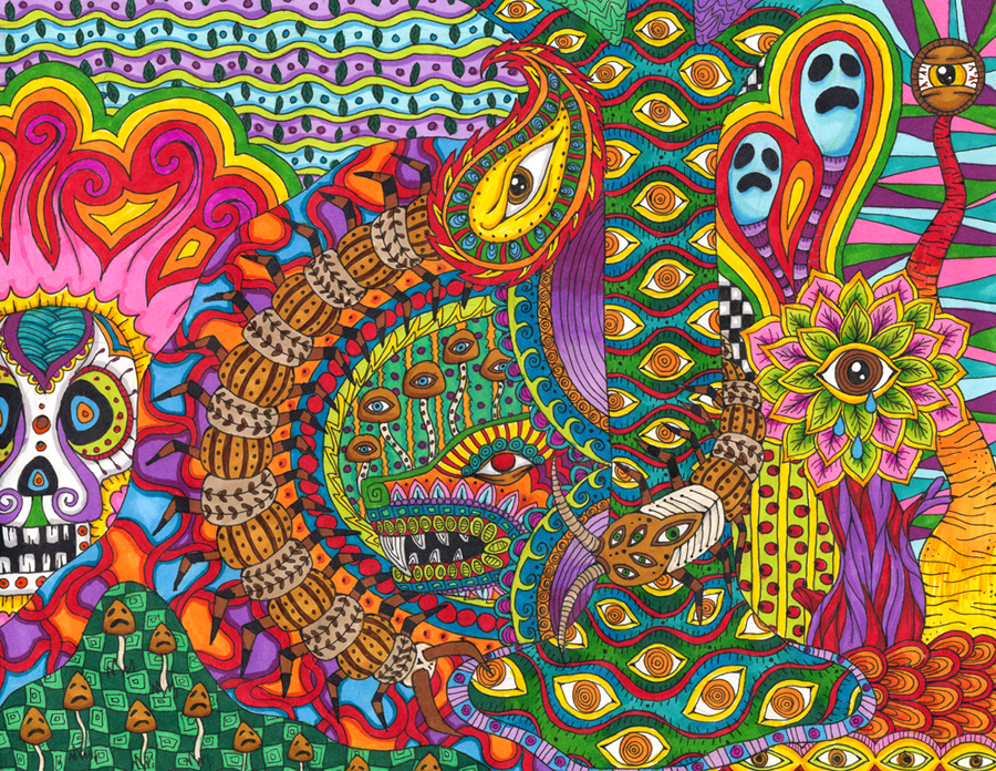 Psychedelic colourful drawings by Liquid Mushroom