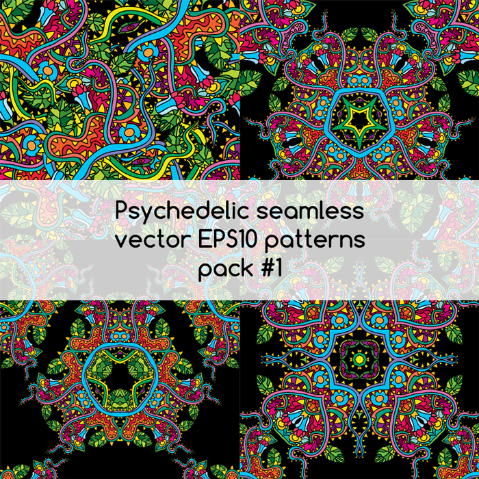 Psychedelic seamless vector EPS 10 patterns pack #1 part 1