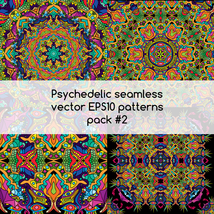 Psychedelic seamless vector EPS 10 patterns pack #1 part 2
