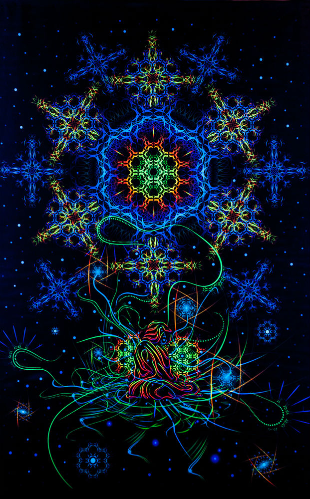 Psychedelic fluorescent backdrop by Ahankara Art