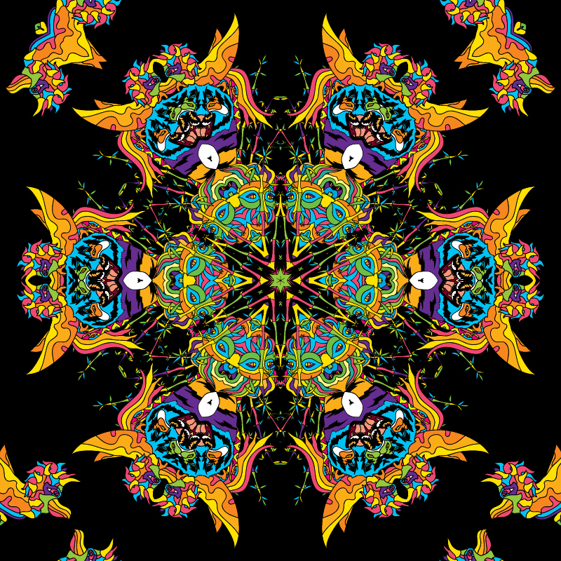 Psychedelic vector freebie seamless pattern