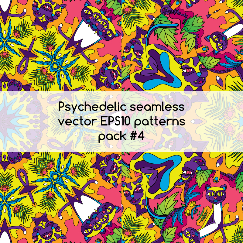Psychedelic seamless vector EPS 10 patterns pack #3 part 3