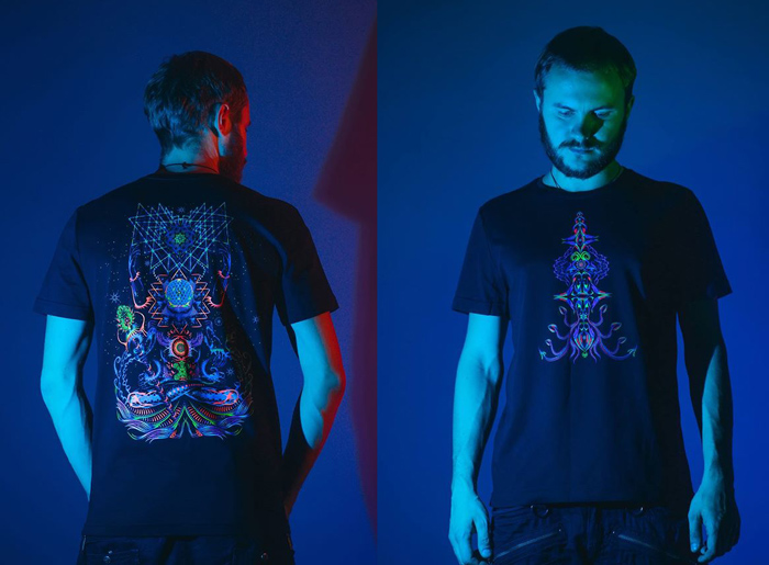Psychedelic fluorescent t-shirt by Ahankara Art