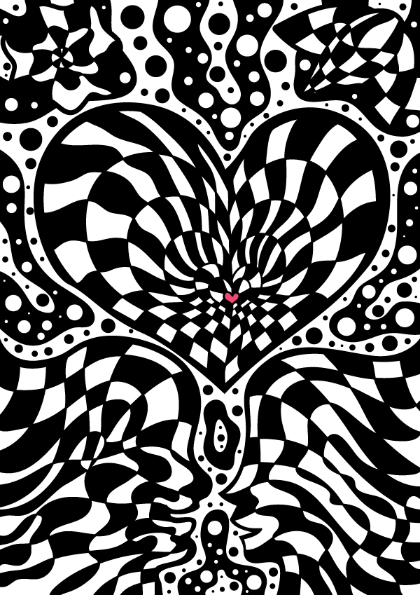 Psychedelic optical art Valentine's Day vector freebie by Andrei Verner