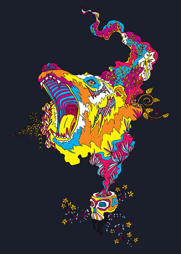 Bear Roar Psychedelic T-shirt by Andrei Verner