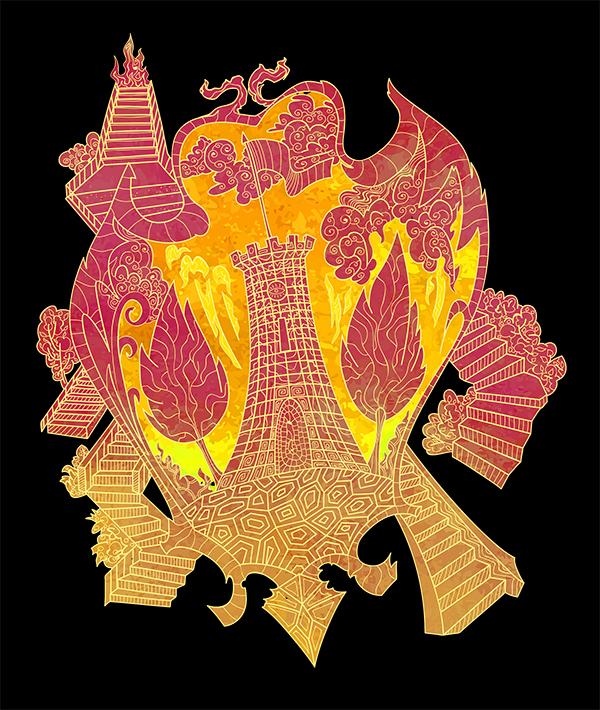 Psychedelic coat of arms of Herceg Novi, Montenegro by Andrei Verner