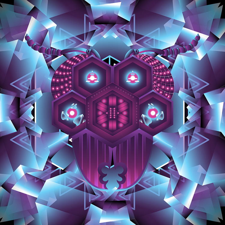 Fluorescent psychedelic backdrop Deep Purple by Andrei Verner