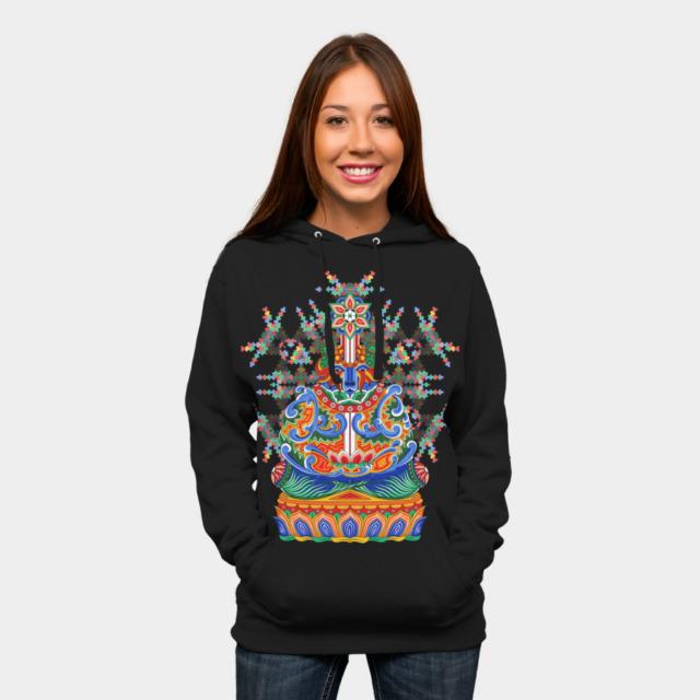 Meditating bear psychedelic t-shirt design by Andrei Verner