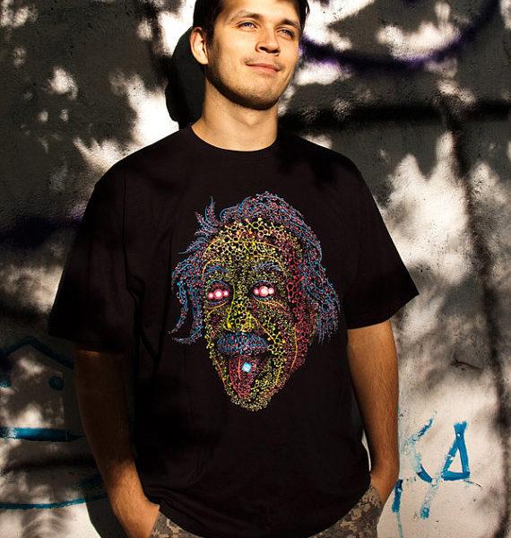Psychedelic t-shirt Acid Scientist fluorescent silkscreen print. Designed by Andrei Verner