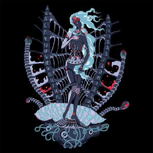 Rebirth of Cyber Venus psychedelic T-shirt Design - Black background
