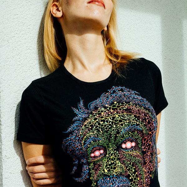 Party t-shirt Acid Scientist fluorescent silkscreen print. Designed by Andrei Verner