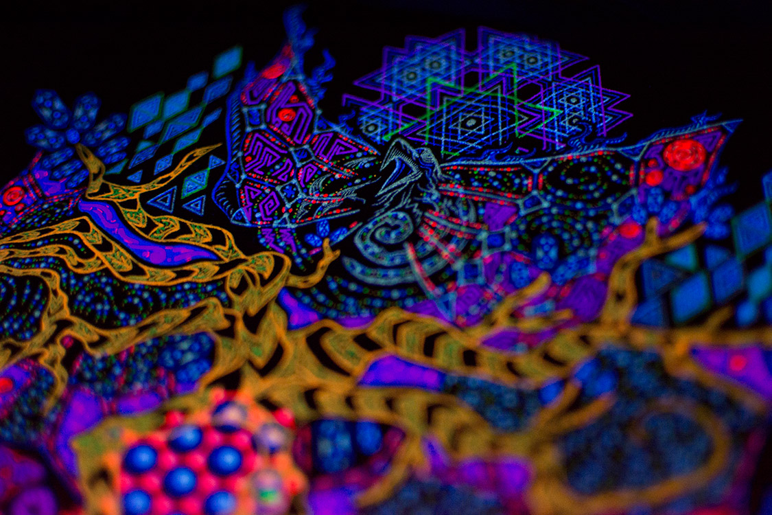 Psychedelic Yggdrasil T-shirt Design Fluorescent Photos Update by Andrei Verner