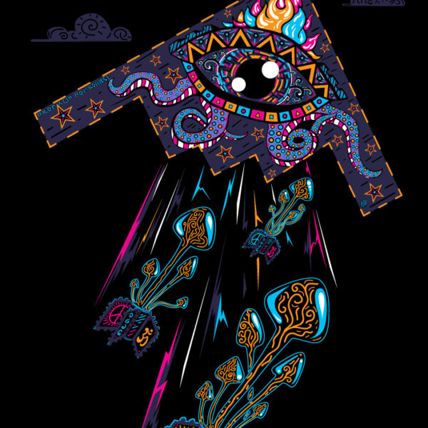 Drop Acid Not Bombs psychedelic t-shirt design by Andrei Verner