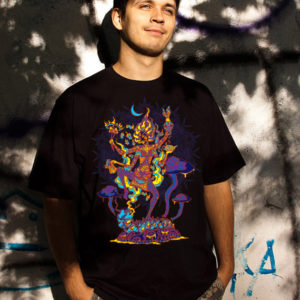 Kali in Wonderland Psychedelic Fluorescent Man's T-shirt
