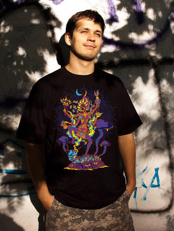 Kali in Wonderland psychedelic fluorescent man's t-shirt by Andrei Verner