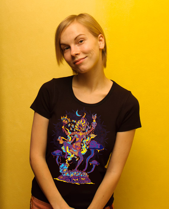 Kali in Wonderland psychedelic fluorescent woman's t-shirt by Andrei Verner