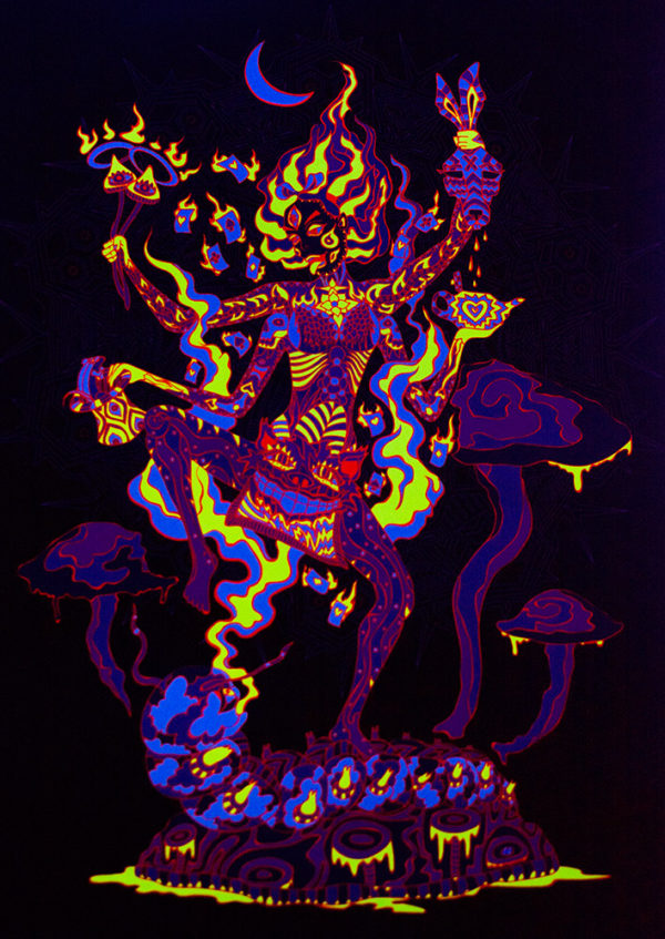 Kali in Wonderland Psychedelic Fluorescent UV-Reactive Backdrop Tapestry Blacklight Poster UV Light Photo