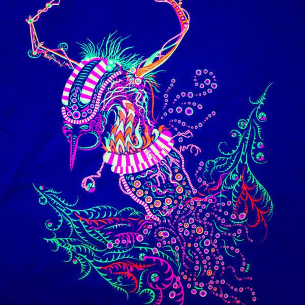 Cyborg Baba Yaga Psychedelic Fluorescent T-Shirt Print