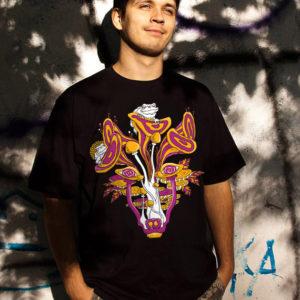 Mushroom Wolf Spirit Psychedelic T-shirt