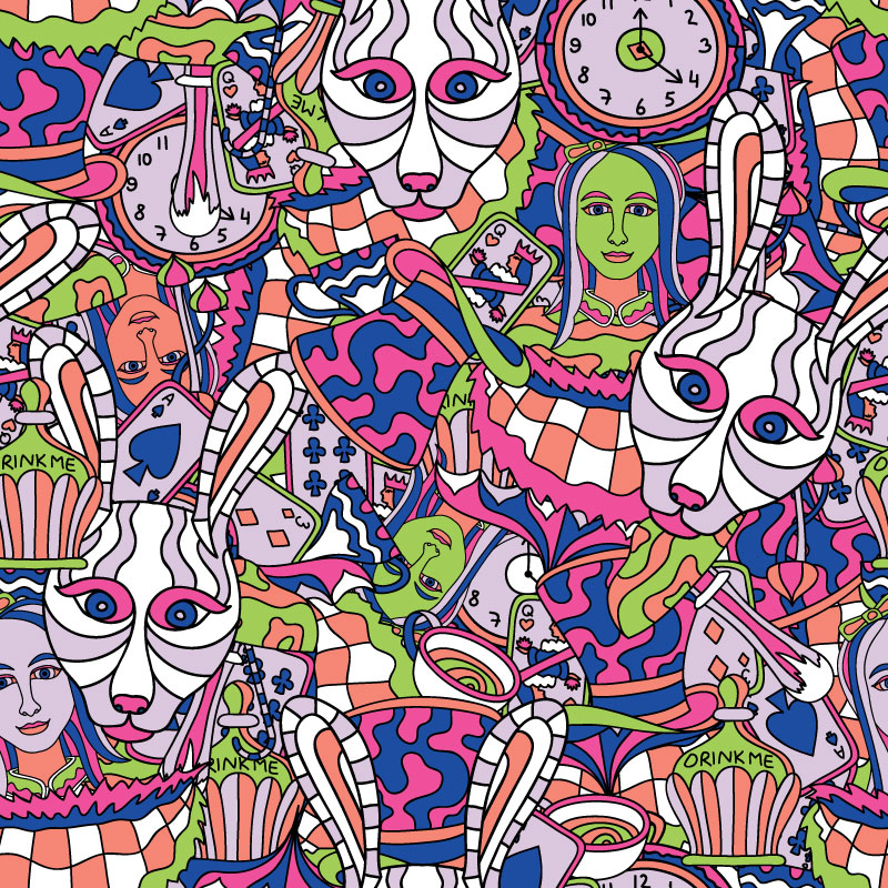 Alice in Wonderland - psychedelic pattern design for ON THAT ASS by Andrei Verner